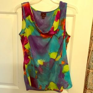 Worthington Blouse w bright colors and Cowl neck